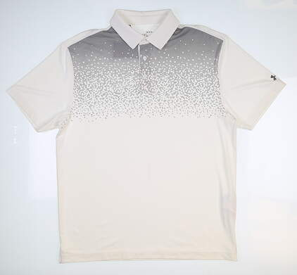 New Mens Under Armour Golf Polo Large L White UM0580 MSRP $75