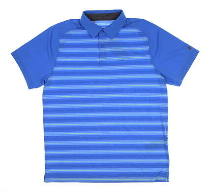 New Mens Under Armour Threadborne Golf Polo Large L Blue UM0574 MSRP $75