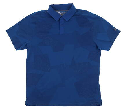 New Mens Under Armour Threadborne Golf Polo Large L Blue UM0577 MSRP $75