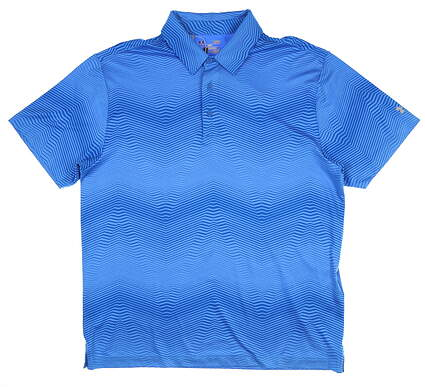 New Mens Under Armour Golf Polo Large L Blue UM0565 MSRP $75