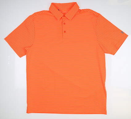 New Mens Under Armour Golf Polo Large L Orange UM0545 MSRP $75