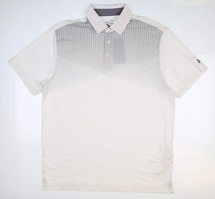 New Mens Under Armour Golf Polo Large L White UM0568 MSRP $75