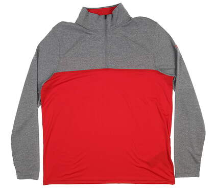 New Mens Under Armour Scratch 1/4 Zip Pullover Large L Red/ Grey UM7182 MSRP $60