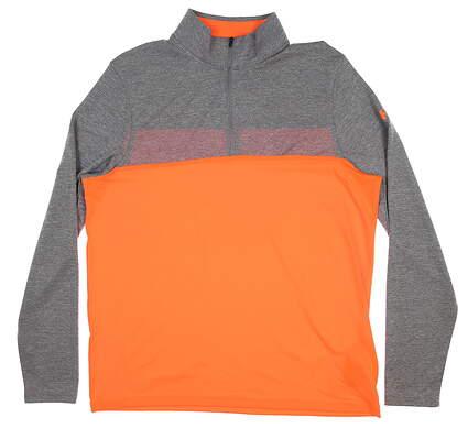 New Mens Under Armour Scrratch 1/4 Zip Pullover Large L Orange/ Grey UM7182 MSRP $60