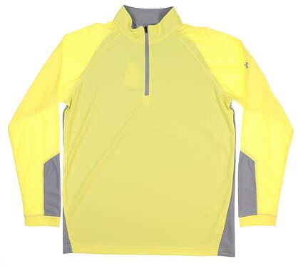 New Mens Under Armour Loft Mock 1/4 Zip Large L Yellow/ Grey UM7185 MSRP $70