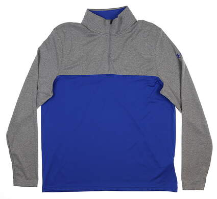 New Mens Under Armour Scratch 1/4 Zip Pullover Large L Royal/ Grey UM7182 MSRP $60