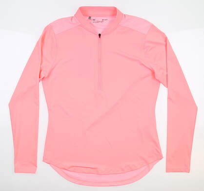 New Womens Under Armour Golf 1/2 Zip Pullover Medium M Pink UW1229 MSRP $70