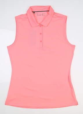 New Womens Under Armour Sleeveless Golf Polo Medium M Pink UW0466 MSRP $60