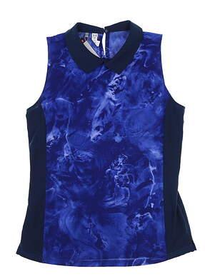 New Womens Under Armour Sleeveless Golf Polo Medium M Blue UW2401 MSRP $65