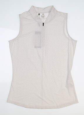 New Womens Under Armour Sleeveless Golf Polo Medium M White UW1441 MSRP $60