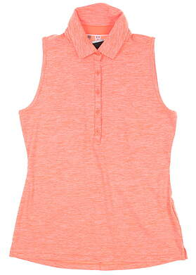 New Womens Under Armour Sleeveless Golf Polo Medium M Orange UW0455 MSRP $55