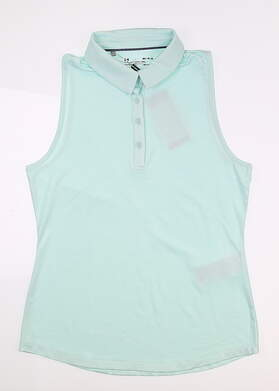 New Womens Under Armour Sleeveless Golf Polo Medium M Blue UW0468 MSRP $55