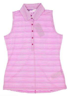 New Womens Under Armour Sleeveless Golf Polo Medium M Pink UW0457 MSRP $60