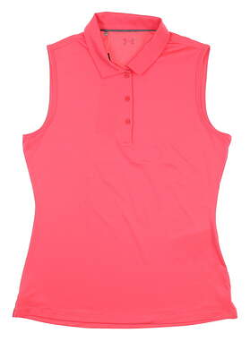 New Womens Under Armour Sleeveless Golf Polo Medium M Pink UW0466 MSRP $60