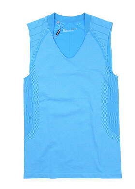 New Womens Under Armour Sleeveless Golf Polo Medium M Blue UW0461 MSRP $55