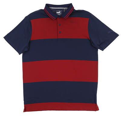 New Mens Puma Rugby Golf Polo Medium M Peacoat/ Rhubarb 595677 03 MSRP $70