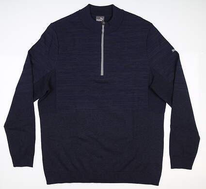 New Mens Puma Evoknit 1/4 Zip Sweater Medium M Peacoat Heather 595125 03 MSRP $95