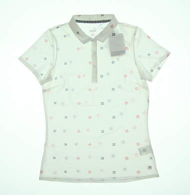 New Womens Puma Ditsy Golf Polo Small S White 595482 02 MSRP $60