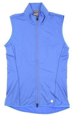 New Womens Puma Full Zip Knit Vest Small S Blue Glimmer 595446 04 MSRP $65