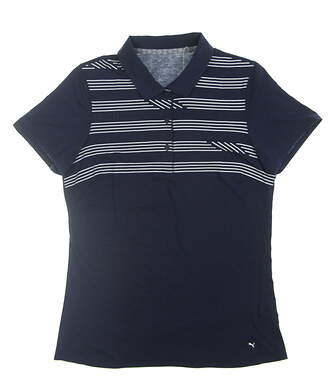 New Womens Puma Step Stripe Polo Small S Peacoat 595139 01 MSRP $60