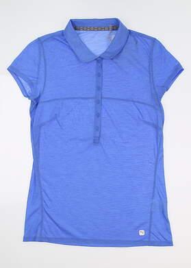 New Womens Puma Slim Stretch Polo Small S Blue Glimmer 595135 04 MSRP $60