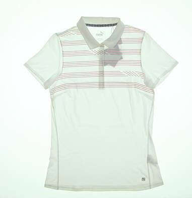 New Womens Puma Step Stripe Polo Small S Bright White 595139 02 MSRP $60