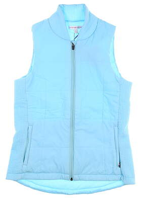 New Womens Peter Millar Stretch Puffer Gilet Vest Small S Mystic LS17EZ03 MSRP $189