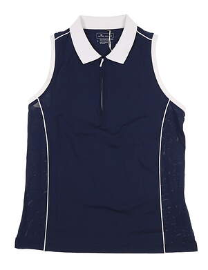 New Womens Peter Millar Sleeveless Polo Large L Navy Blue MSRP $70