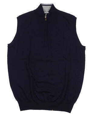 New Mens Peter Millar Sweater Vest Medium M Navy Blue MSRP $135