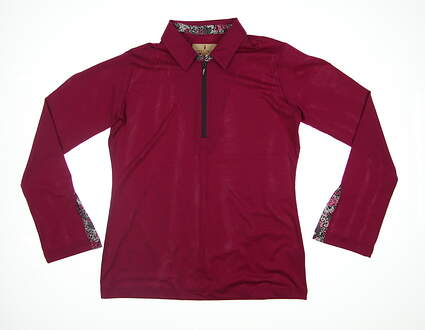 New Womens Sport Haley Long Sleeve Golf Polo Large L Magenta H38407TM MSRP $89