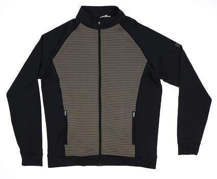 New W/ Logo Mens Peter Millar Full Zip Medium M Gray/Black MF18EK47 MSRP $125