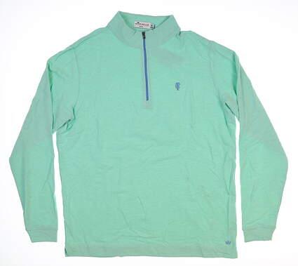 New W/ Logo Mens Peter Millar 1/4 Zip Pullover Medium M Green MS18K81 MSRP $145