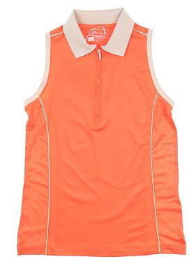 New Womens Peter Millar Sleeveless Golf Polo Medium M Orange LF18EK03 MSRP $69