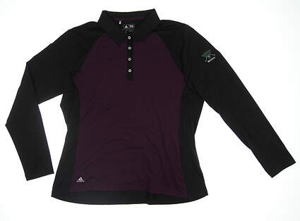 New Womens Adidas Long Sleeve Golf Polo X-Large XL Black/Purple BC7004 MSRP $77