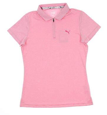 New Womens Puma Soft Stripe Polo Small S Fuchsia 577921 02 MSRP $55