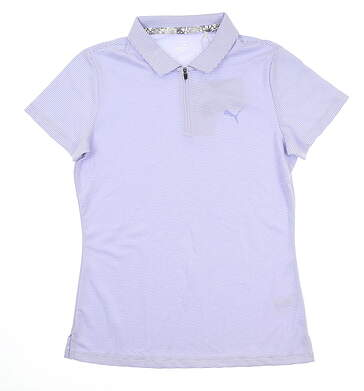 New Womens Puma Soft Stripe Polo Small S Sweet Lavender 577921 04 MSRP $55