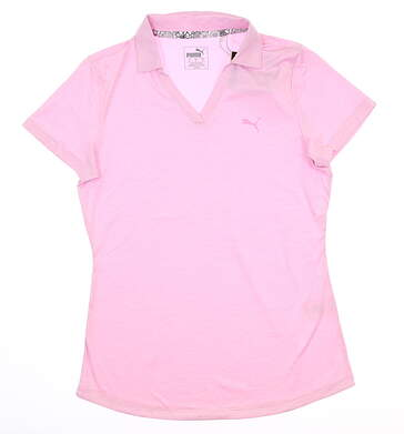 New Womens Puma Softest Polo Small S Pale Pink Heather 577926 04 MSRP $55