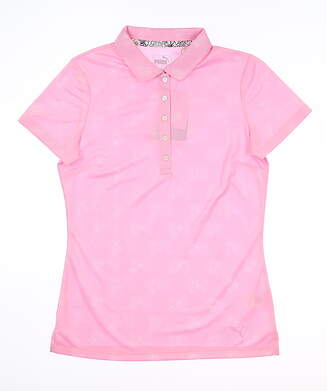 New Womens Puma Burst Into Bloom Polo Small S Pale Pink 577920 02 MSRP $60