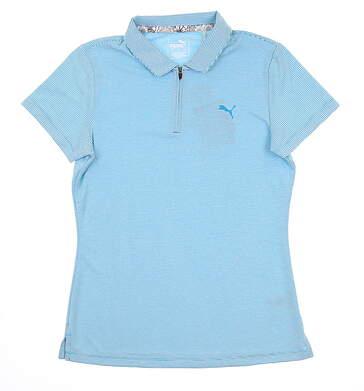 New Womens Puma Soft Stripe Polo Small S Caribbean Sea 577921 01 MSRP $55