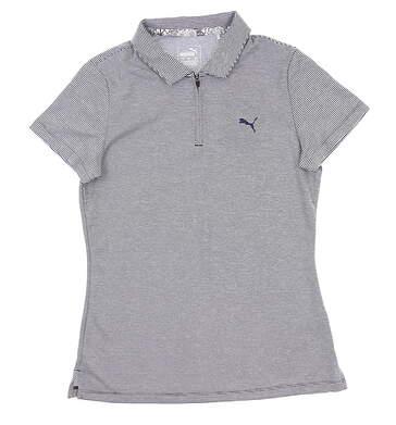 New Womens Puma Soft Stripe Polo Small S Peacoat 577921 03 MSRP $55