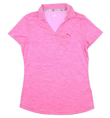 New Womens Puma Softest Polo Small S Fuchsia Heather 577926 02 MSRP $55