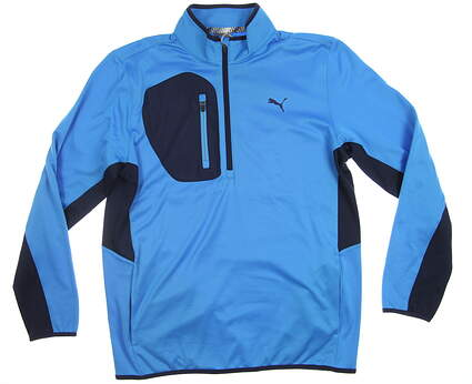 New Mens Puma Tech 1/4 Zip Medium M Bleu Azur 577897 02 MSRP $90