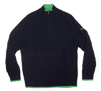 New Mens Puma Dunluce 1/4 Zip Sweater Medium M Peacoat/ Irish Green 595622 01 MSRP $120