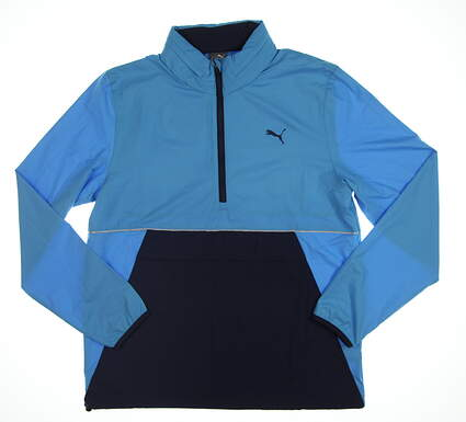 New Mens Puma Retro Wind Jacket Medium M Bleu Azur 577896 01 MSRP $90