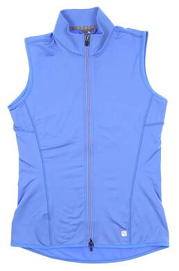 New Womens Puma Full Zip Knit Golf Vest Small S Blue Glimmer 595446 04 MSRP $65