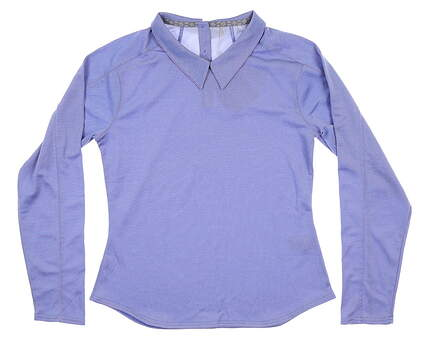 New Womens Puma Long Sleeve Polo Small S Dazzling Blue 595133 02 MSRP $65