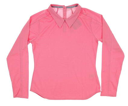 New Womens Puma Long Golf Sleeve Polo Small S Pink 595133 05 MSRP $65