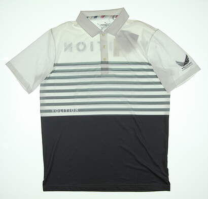 New Mens Puma Volition CK6 Flag Golf Polo Medium M Quiet Shade 577743 MSRP $80