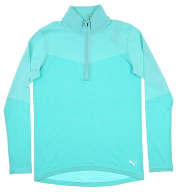 New Womens Puma Evoknit 1/4 Zip Golf Pullover Small S Blue Turquoise Heather 577939 13 MSRP $75