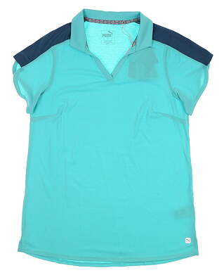 New Womens Puma Petal Golf Polo Small S Blue Turquoise 59548 01 MSRP $60